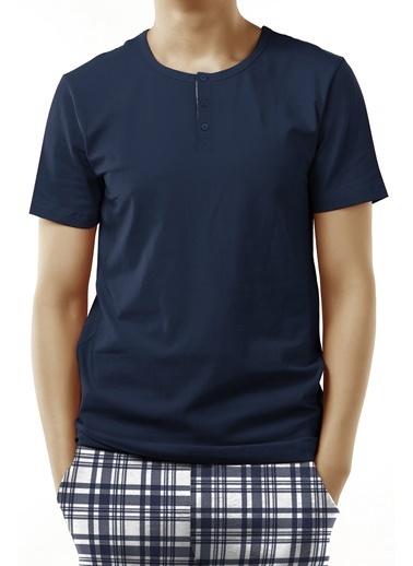 Penti Navy Checky Ss Pijama Takımı Mavi